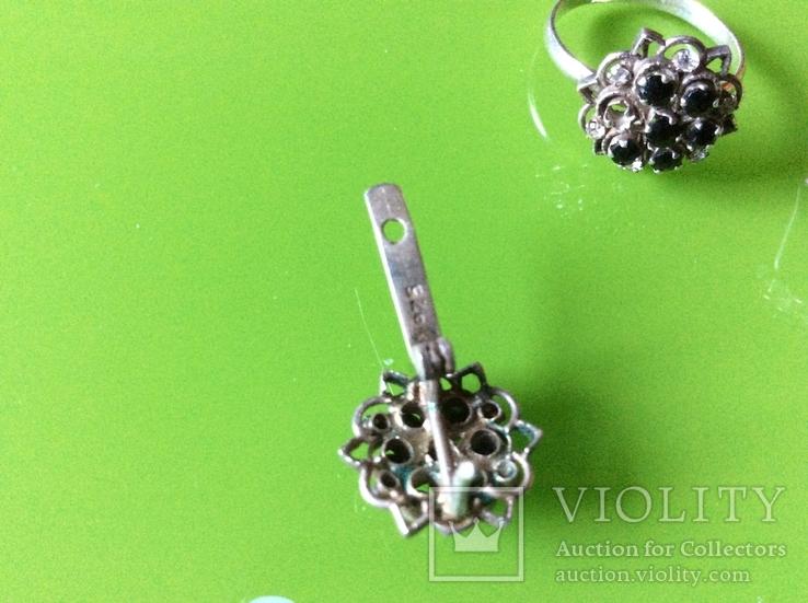 Гарнитур: серьги и кольцо с камнями, фото №6