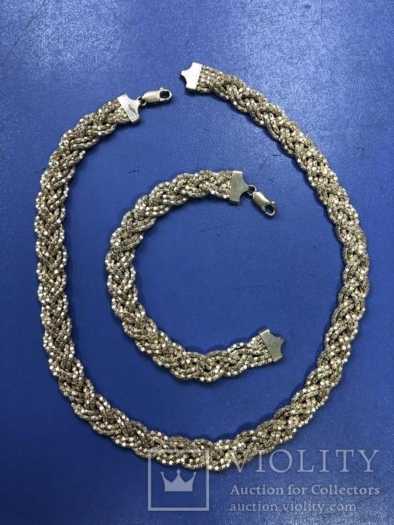 Набор  из цепи с браслетом , серебро 925, фото №2