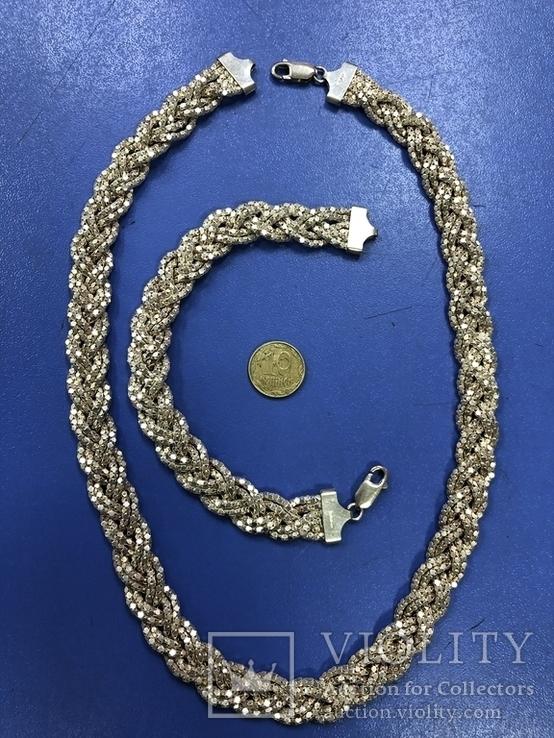 Набор  из цепи с браслетом , серебро 925, фото №4