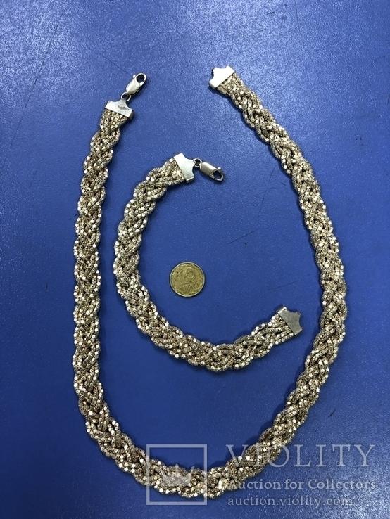 Набор  из цепи с браслетом , серебро 925, фото №5