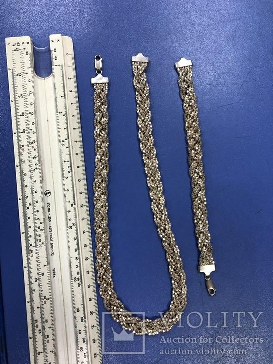Набор  из цепи с браслетом , серебро 925, фото №8