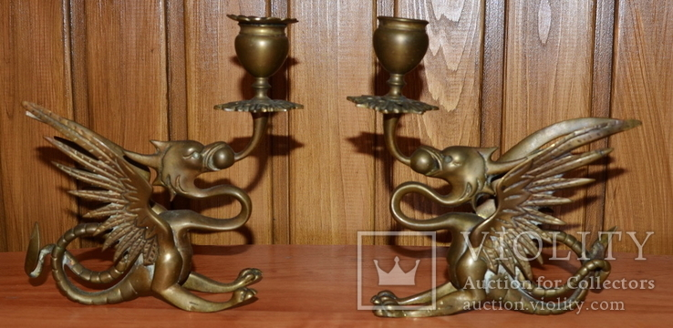Латунные подсвечники Драконы. Вес 1400 грамм, фото №2