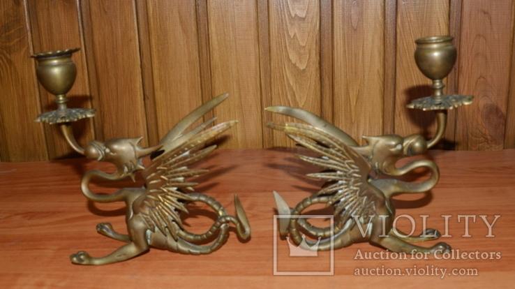 Латунные подсвечники Драконы. Вес 1400 грамм, фото №7