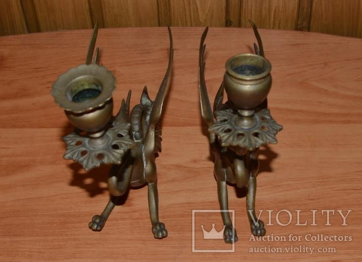 Латунные подсвечники Драконы. Вес 1400 грамм, фото №10