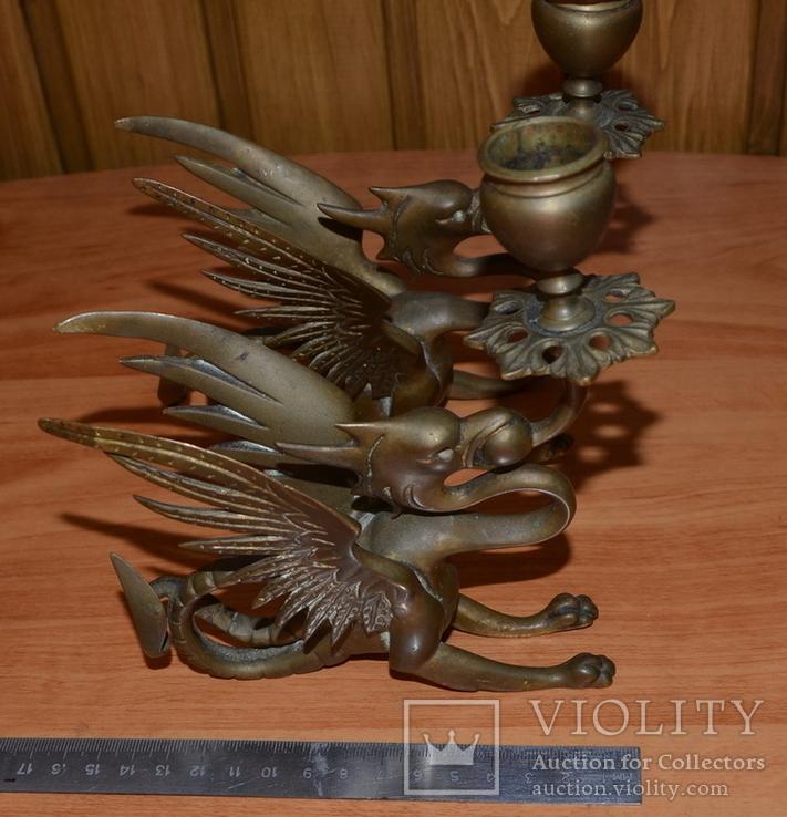 Латунные подсвечники Драконы. Вес 1400 грамм, фото №11