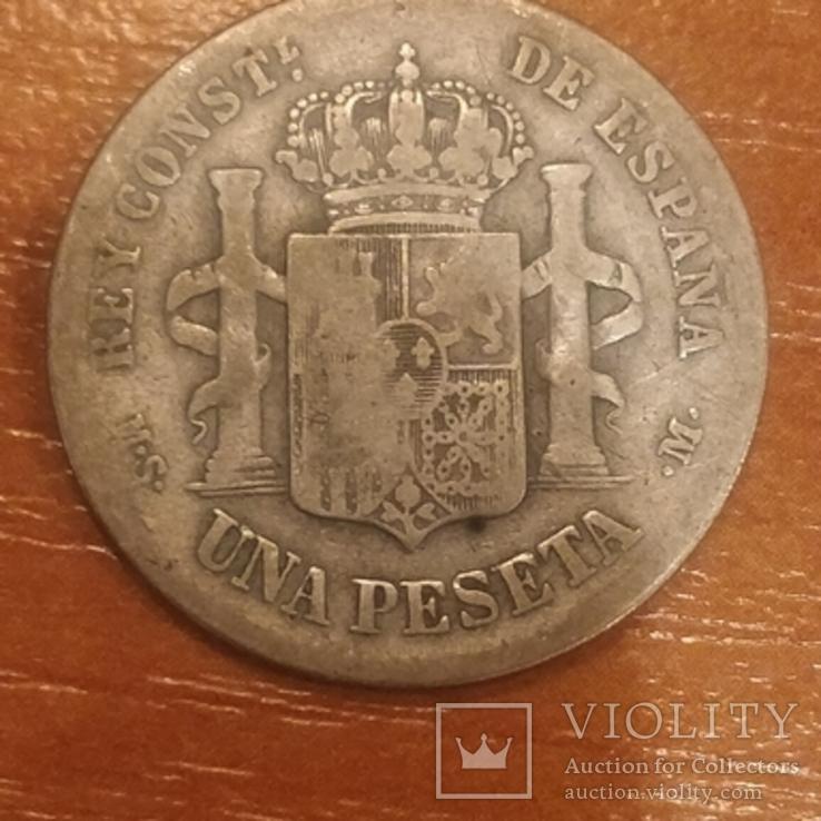 Испания,1 песета,1883 г., фото №3