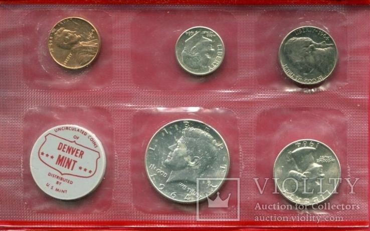 США 1964 ,,D,, Официальный набор серебро запайка!, фото №2