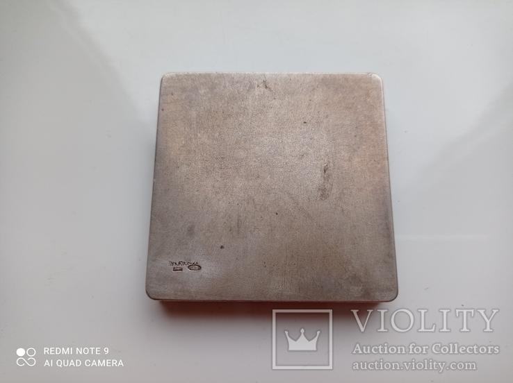 Пудреница серебро 875 пр, фото №3