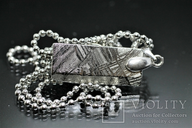 Родований кулон з метеорита Muonionalusta із срібною фурнітурою,  сертифікат автентичності, фото №2