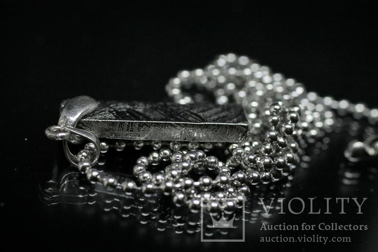 Родований кулон з метеорита Muonionalusta із срібною фурнітурою,  сертифікат автентичності, фото №7