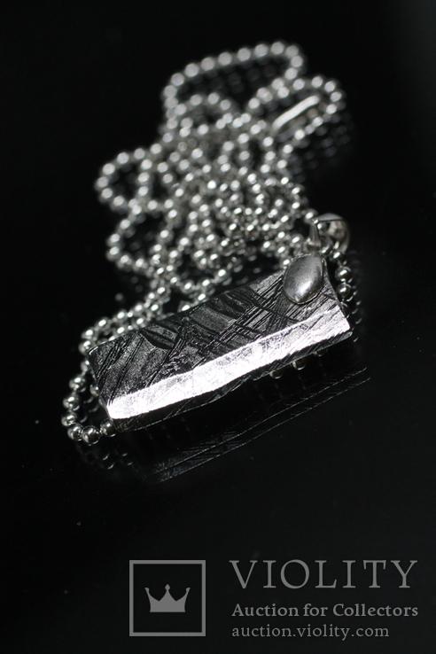 Родований кулон з метеорита Muonionalusta із срібною фурнітурою,  сертифікат автентичності, фото №8