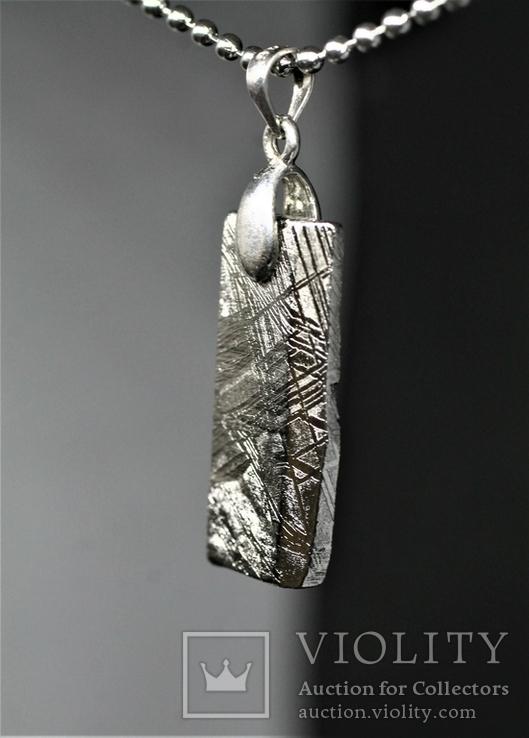 Родований кулон з метеорита Muonionalusta із срібною фурнітурою,  сертифікат автентичності, фото №10