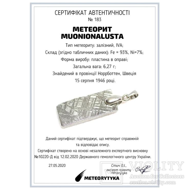 Родований кулон з метеорита Muonionalusta із срібною фурнітурою,  сертифікат автентичності, фото №12
