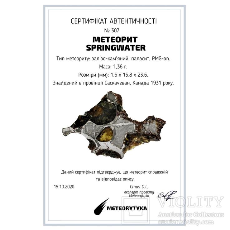 Залізо-кам'яний метеорит Springwater 1,36 г, з сертифікатом автентичності, фото №3