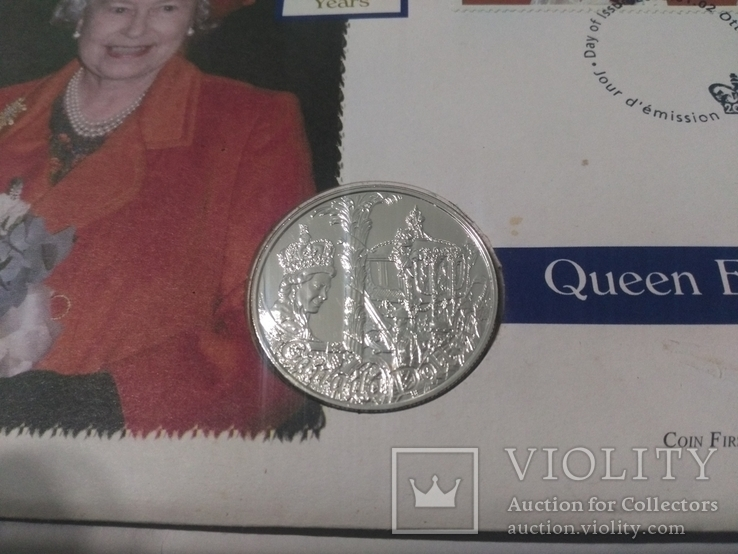 1 Доллар 2002 50 лет правлению Королевы Елизаветы II (Серебро 0.925, 25.18г), Канада, фото №3