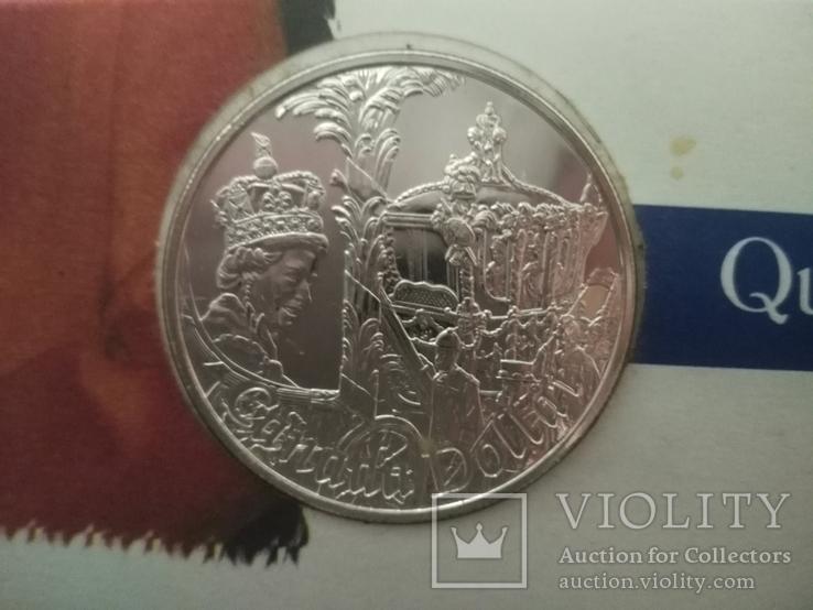 1 Доллар 2002 50 лет правлению Королевы Елизаветы II (Серебро 0.925, 25.18г), Канада, фото №7