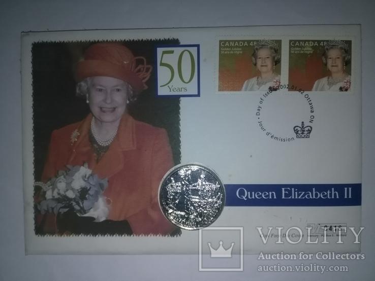 1 Доллар 2002 50 лет правлению Королевы Елизаветы II (Серебро 0.925, 25.18г), Канада, фото №2