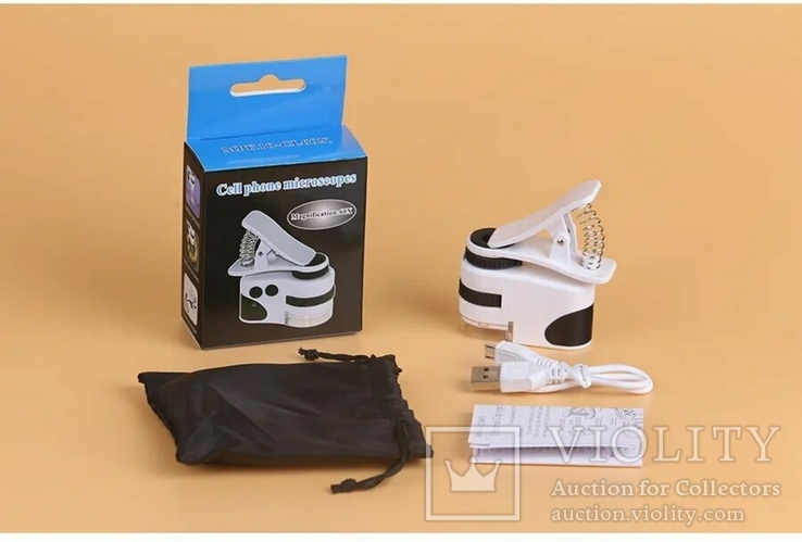 Микроскоп Mpk10-Cl60x с клипсой зажимом и usb зарядкой для смартфона, фото №2