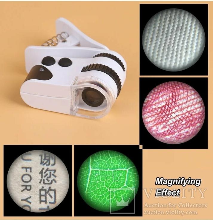 Микроскоп Mpk10-Cl60x с клипсой зажимом и usb зарядкой для смартфона, фото №3