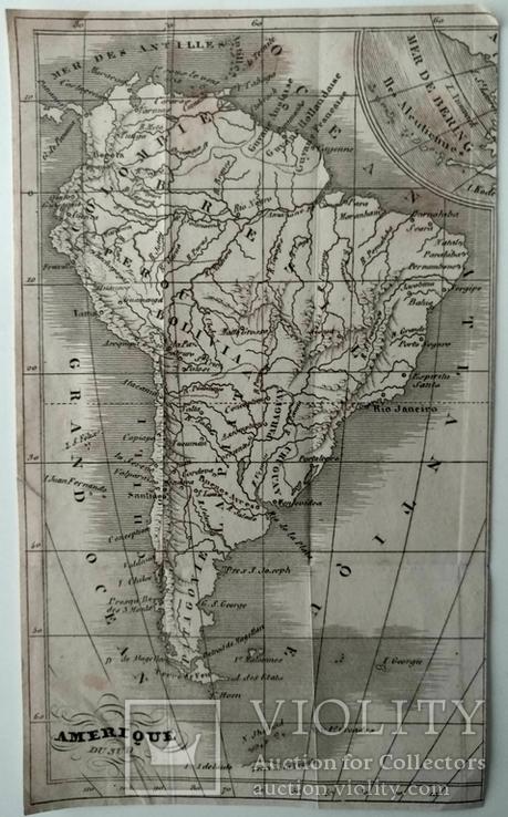 1830 Южная Америка, карта (17х17) СерияАнтик, фото №2