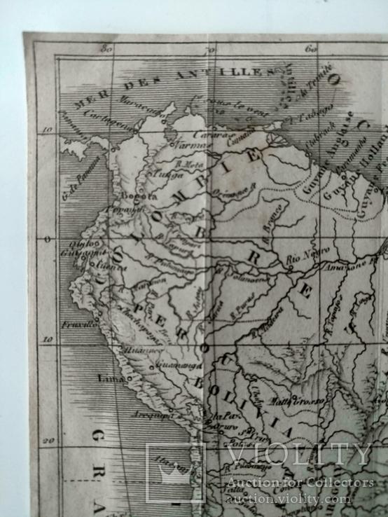 1830 Южная Америка, карта (17х17) СерияАнтик, фото №3
