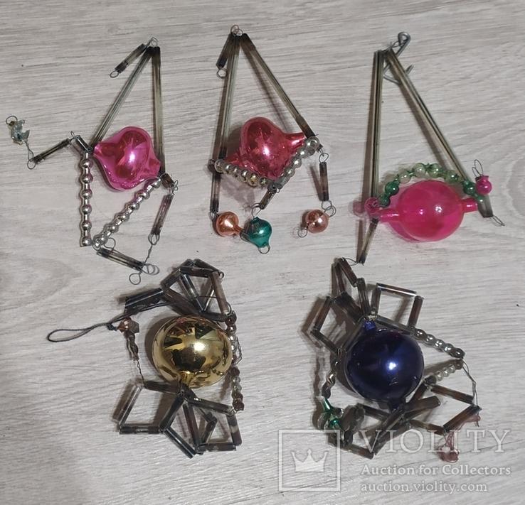 Новогоднее  игрушки стеклярус, фото №2