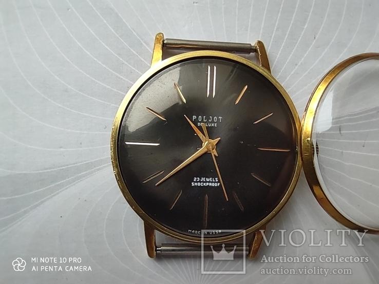 Часы Poljot de luxe 1 МЧЗ. 23 jewels  made in USSR . Полет плоский Au20, фото №3