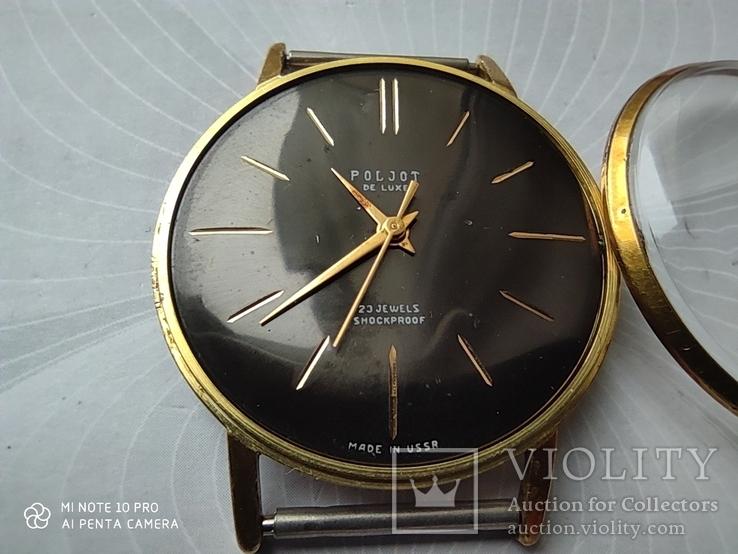 Часы Poljot de luxe 1 МЧЗ. 23 jewels  made in USSR . Полет плоский Au20, фото №4