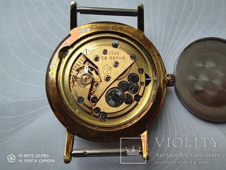 Часы Poljot de luxe 1 МЧЗ. 23 jewels  made in USSR . Полет плоский Au20, фото №12