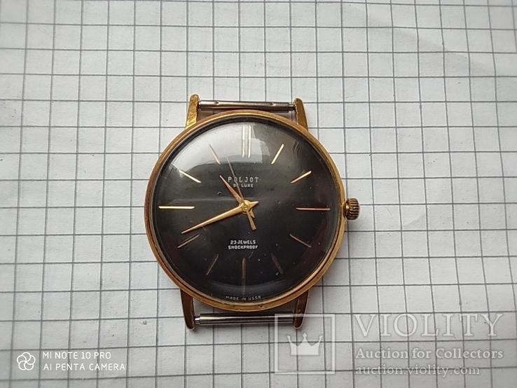 Часы Poljot de luxe 1 МЧЗ. 23 jewels  made in USSR . Полет плоский Au20, фото №13