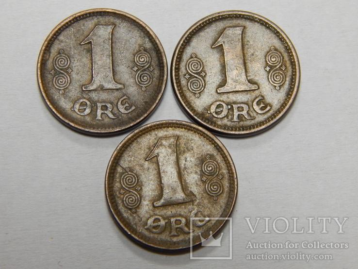 3 монеты по 1 оре, Дания, 1921 г, фото №2