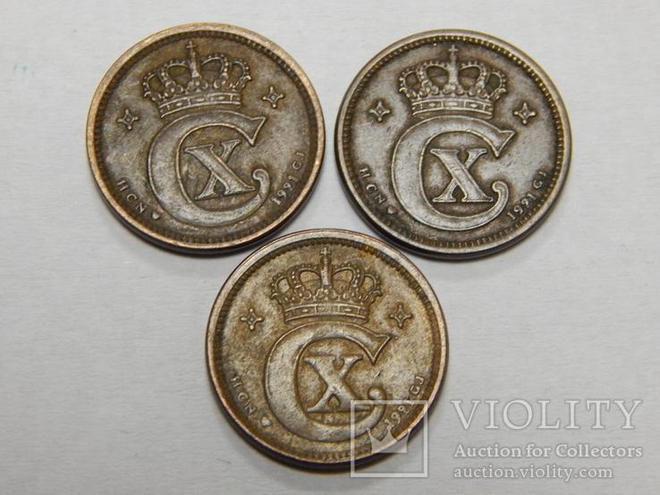 3 монеты по 1 оре, Дания, 1921 г, фото №3
