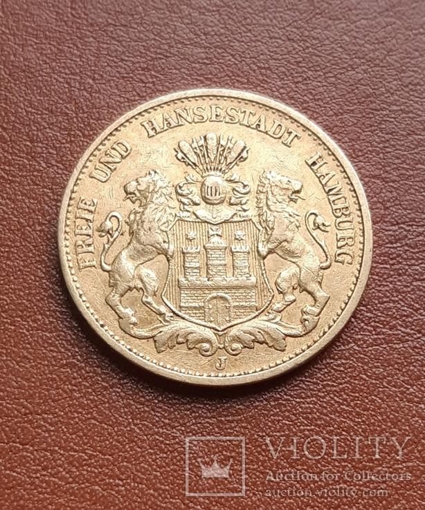 Золото 20 марок 1897 Гамбург Германия, фото №3