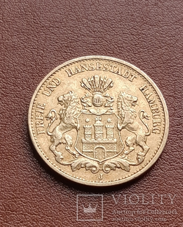 Золото 20 марок 1897 Гамбург Германия, фото №2