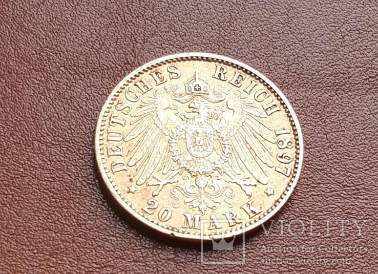 Золото 20 марок 1897 Гамбург Германия, фото №6