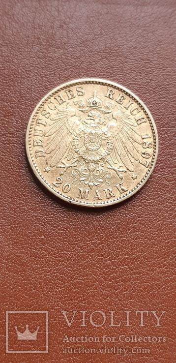 Золото 20 марок 1897 Гамбург Германия, фото №10