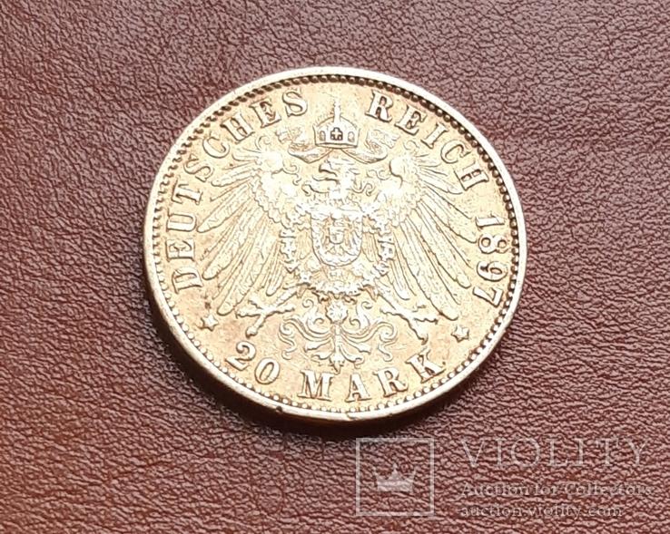 Золото 20 марок 1897 Гамбург Германия, фото №11