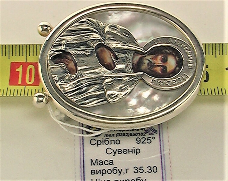 Икона сувенир Святой Александр Невский серебро 925 проба 35,30 грамма, фото №6