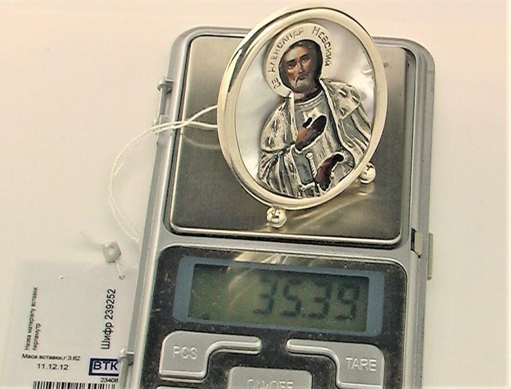 Икона сувенир Святой Александр Невский серебро 925 проба 35,30 грамма, фото №8