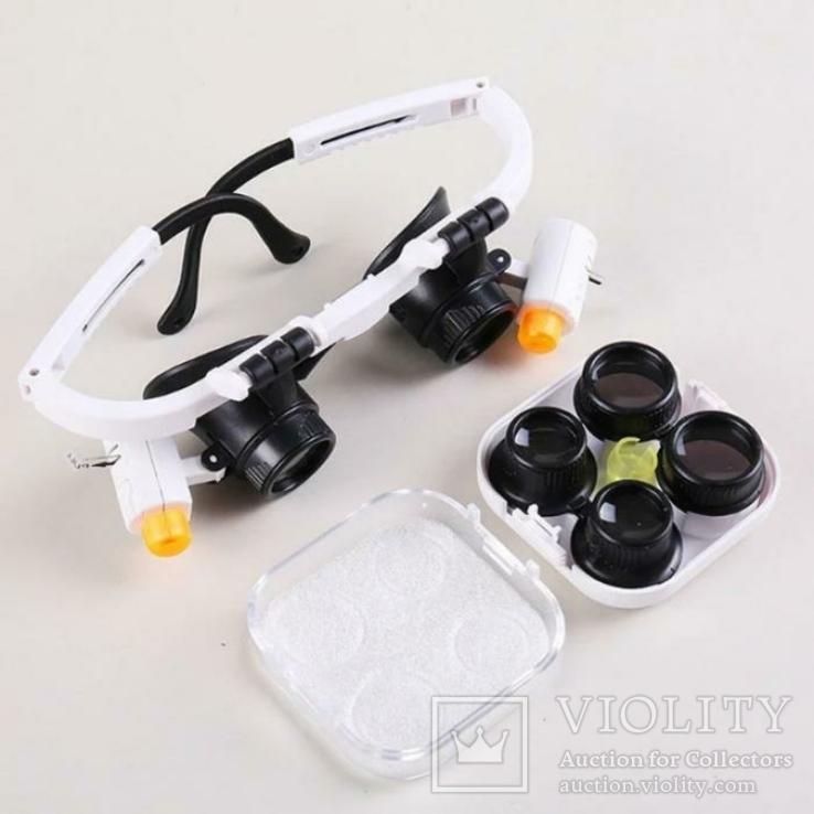 Бинокулярные очки с LED подсветкой 9892RD Увеличение: 6x/10x/25x, фото №2