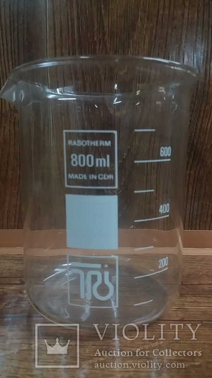 Лабораторный стакан ,градуированый 800мл ГДР(низкий с носиком) термостойкий.