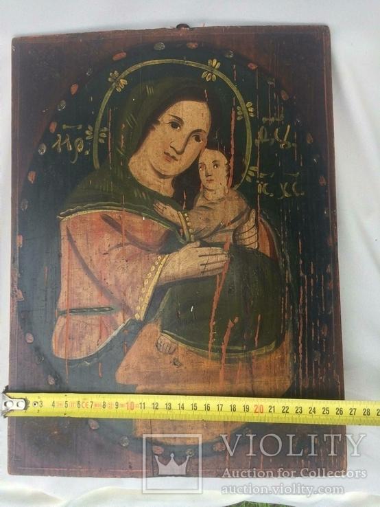 Ікона Богородиці,на дерев'яній дошці., фото №5