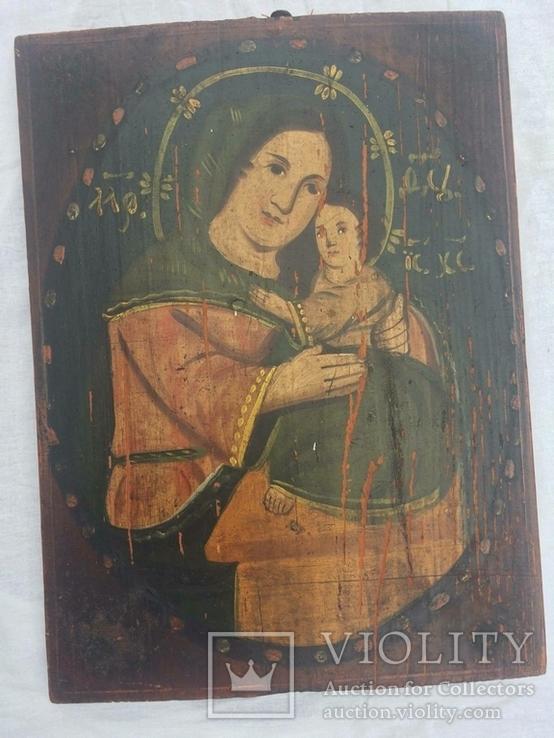 Ікона Богородиці,на дерев'яній дошці., фото №2
