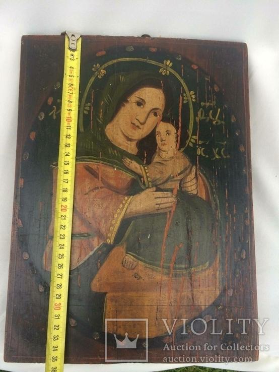 Ікона Богородиці,на дерев'яній дошці., фото №10