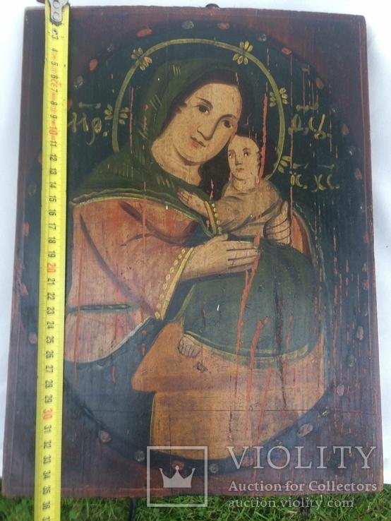 Ікона Богородиці,на дерев'яній дошці., фото №11