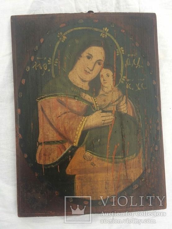 Ікона Богородиці,на дерев'яній дошці., фото №12