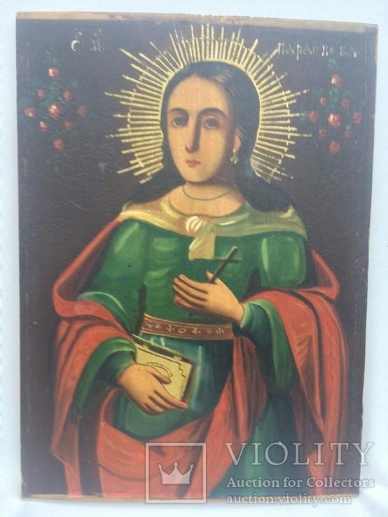Ікона Богородиці, на дерев'яній дошці., фото №5