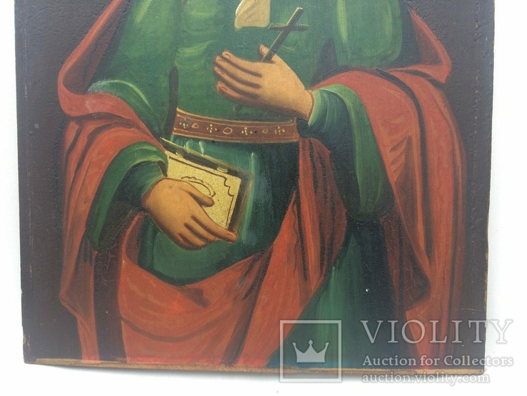 Ікона Богородиці, на дерев'яній дошці., фото №9