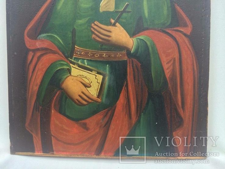 Ікона Богородиці, на дерев'яній дошці., фото №11