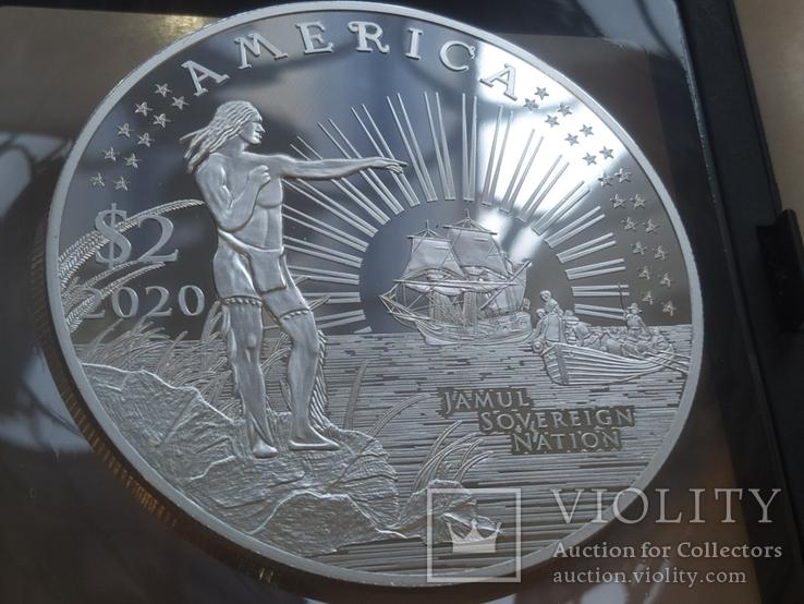 Америка 2 доллара 2020 тираж 400 штук 2 унц Корабль Парусник банковский футляр сертификат, фото №3
